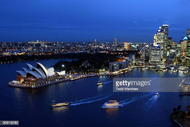 A general view of the Sydney Opera House from the Sydney Harbour Bridge at night prior to the start of Athens 2004 Olympic Torch Relay June 2 2004 in...