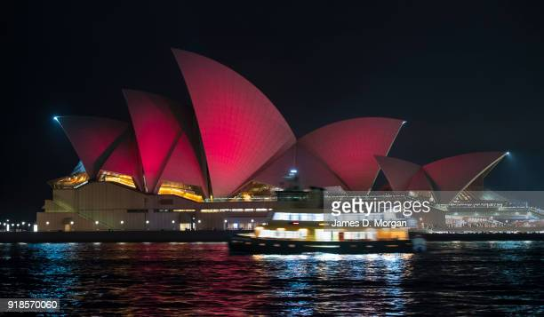 A general view of the Sydney Opera House lit red symbolising good fortune and happiness to celebrate Chinese New Year eve on February 15 2018 in...