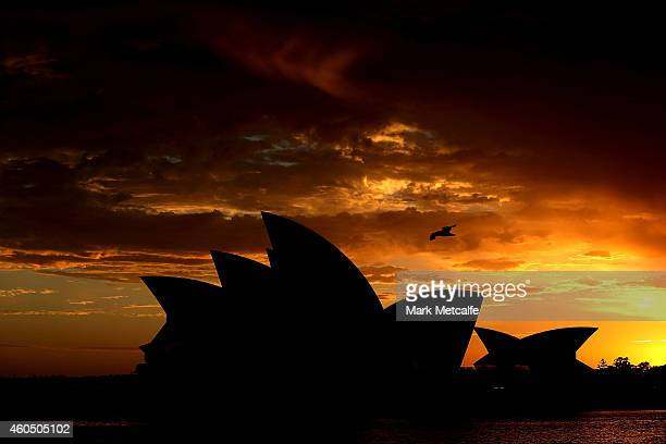 A general view of the Sydney Opera House sails at sunrise on December 16 2014 in Sydney Australia The siege in Sydney's Lindt Cafe in Martin Place is...