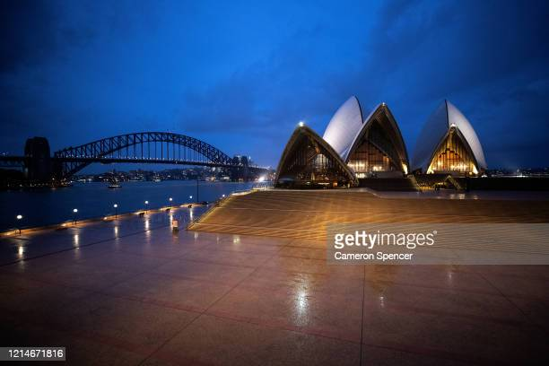 A general view of The Sydney Opera House which is currently closed due to COVID19 on March 25 2020 in Sydney Australia Prime Minister Scott Morrison...