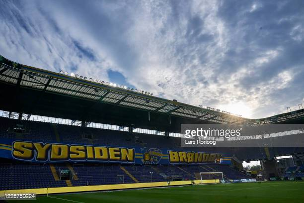 General view of the Sydsiden stand during the Danish 3F Superliga match between Brondby IF and AC Horsens at Brondby Stadion on September 27, 2020 in...