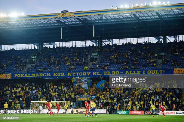 General view of the Sydsiden stand during the Danish Alka Superliga match between Brondby IF and Lyngby BK at Brondby Stadion on May 18 2017 in...