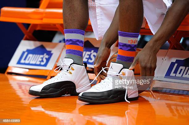 General view of the Syracuse Orange customized Nike socks prior to the game against the Duke Blue Devils at the Carrier Dome on February 1 2014 in...