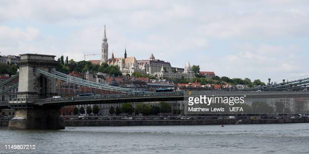 General view of the Szechenyi Chain Bridge and Matthias Church ahead of the UEFA Women's Champions League Final at Groupama Arena on May 17, 2019 in...