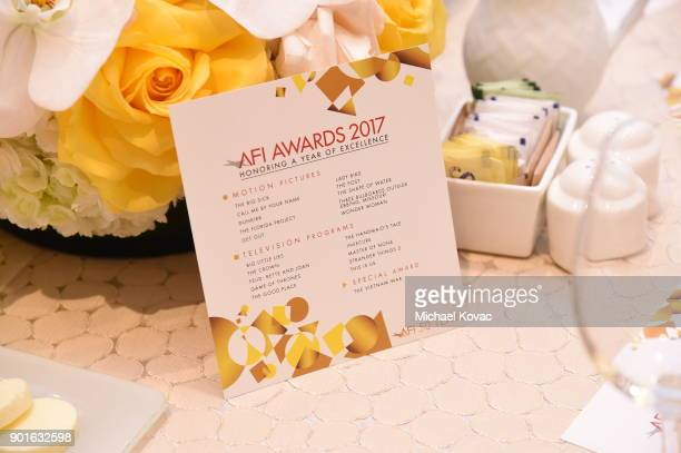 A general view of the table setting during the 18th Annual AFI Awards at Four Seasons Hotel Los Angeles at Beverly Hills on January 5 2018 in Los...
