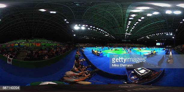 A general view of the table tennis venue on Day 2 of the Rio 2016 Olympic Games at Riocentro Pavilion 3 on August 7 2016 in Rio de Janeiro Brazil