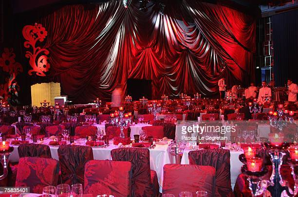 General view of the tables is seen during the Red Cross ball on July 27 2007 in Monte Carlo France