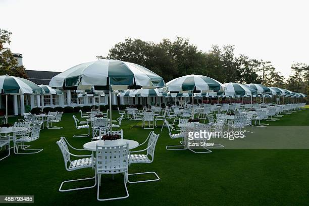 A general view of the tables outside of the club house prior to the start of the 2014 Masters Tournament at Augusta National Golf Club on April 9...