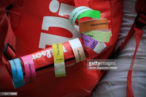 A general view of the tags on the bag used by Alison Riske seen on Day 8 of The Championships Wimbledon 2019 at the All England Lawn Tennis and...