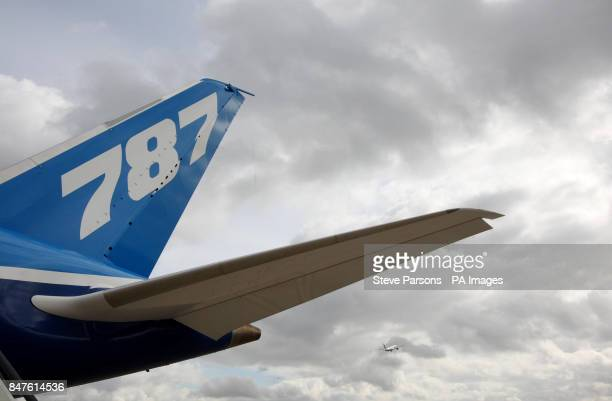 A general view of the tail fin of the Boeing Dreamliner 787 during its visit to the Royal Suite at Heathrow Airport West London as the plane tours...