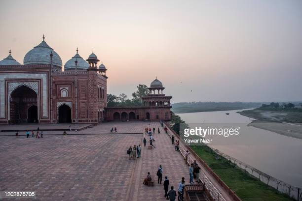 General view of the Taj Mahal and Yamuna river on February 23 2020 in Agra India Authorities have made elaborate security arrangements in the city...