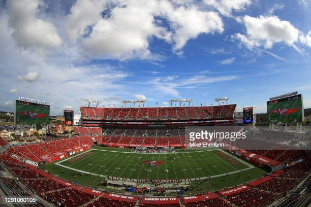 General view of the Tampa Bay Buccaneers playing against the Minnesota Vikings at Raymond James Stadium on December 13, 2020 in Tampa, Florida.