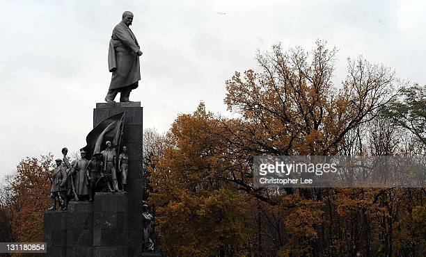 General view of the Taras Shevchenko statue in Kharkov on November 2 in Kharkov Ukraine Kharkov is Ukraine second largest city and is a Euro2012...