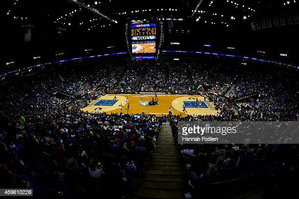 General view of the Target Center during the game between the Minnesota Timberwolves and the San Antonio Spurs on November 21, 2014 in Minneapolis,...