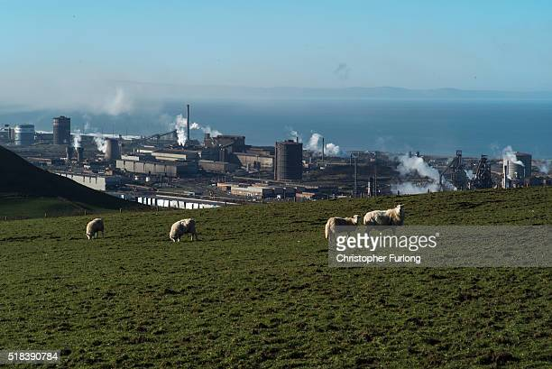 A general view of the Tata Steel plant from the hills overlooking Port Talbot on March 31 2016 in Port Talbot Wales Indian owners Tata Steel has put...
