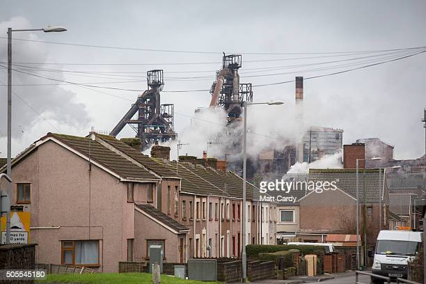 A general view of the Tata steelworks is seen on January 18 2016 in Port Talbot Wales Tata Steel has confirmed today that it plans to cut 1050 jobs...