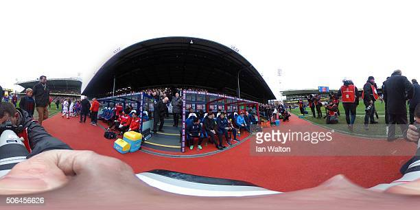 A general view of the team benches prior to the Barclays Premier League match between Crystal Palace and Tottenham Hotspur at Selhurst Park on...