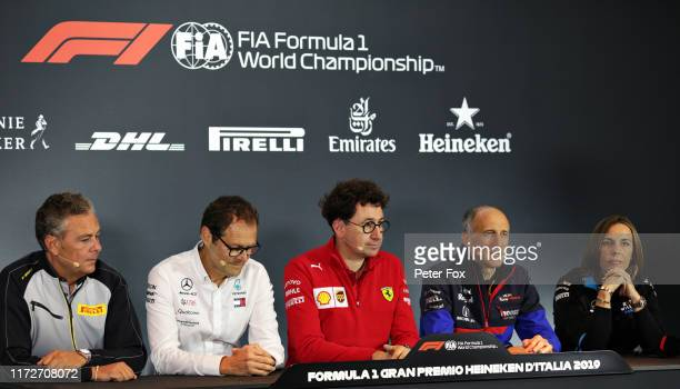 A general view of the Team Principals Press Conference with Director of Pirelli F1 Mario Isola Ferrari Team Principal Mattia Binotto Scuderia Toro...