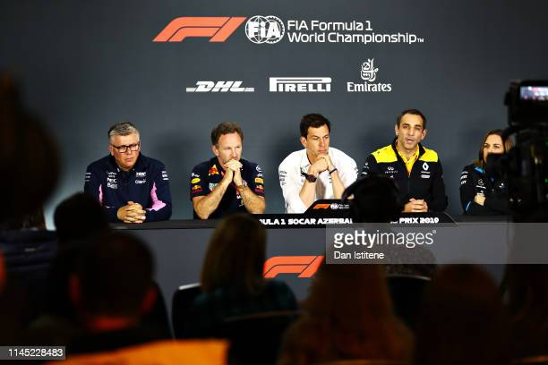 A general view of the Team Principals Press Conference with Otmar Szafnauer Team Principal and Chief Executive Officer of Racing Point Red Bull...
