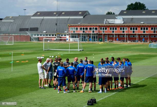Stale Solbakken head coach of FC Copenhagen speaking tom the media after the FC Copenhagen training session at KB's Baner on June 18 2018 in...