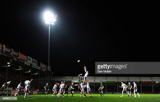 A general view of the teams competing for the lineout during the LV= Cup match between Exeter Chiefs and Bath Rugby at Sandy Park on November 8 2014...