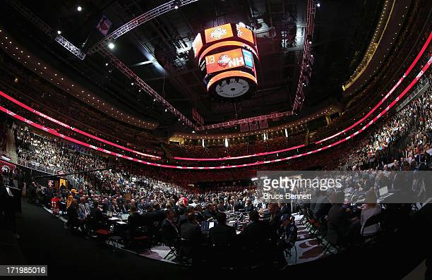 A general view of the teams draft tables on the draft floor during the 2013 NHL Draft at the Prudential Center on June 30 2013 in Newark New Jersey