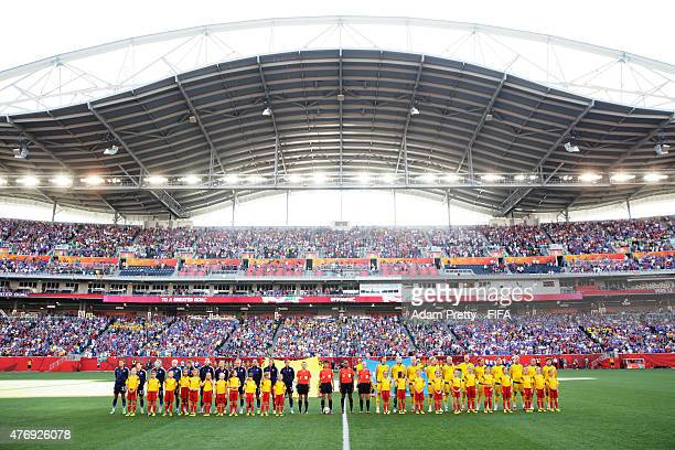 A general view of the teams lining up in Winnipeg Stadium during the Group D match between United States of America and Sweden of the FIFA Women's...