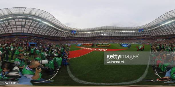 A general view of the teams lining up prior to the 2018 FIFA World Cup Russia Group A match between Russia and Saudi Arabia at Luzhniki Stadium on...