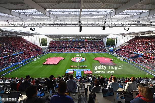 A general view of the teams lining up prior to the UEFA EURO 2016 Group D match between Czech Republic and Turkey at Stade BollaertDelelis on June 21...