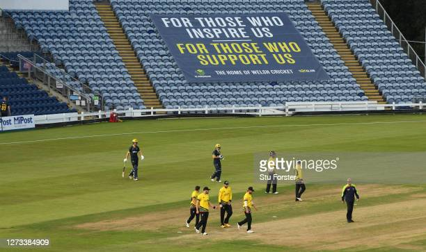 General view of the teams walking out infront of a banner reading 'For those who inspire us, For those who support us' during the T20 Vitality Blast...