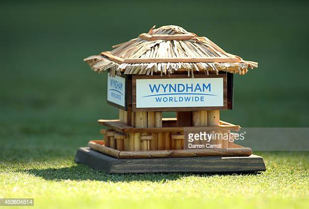 A general view of the tee box on the seventh hole during the first round of the Wyndham Championship at Sedgefield Country Club on August 14 2014 in...