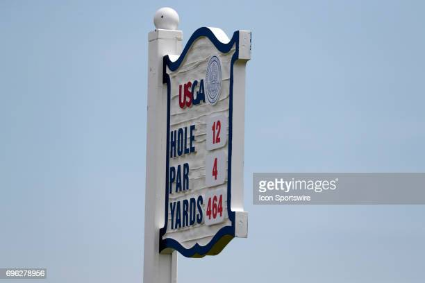 General view of the tee marker on the 12th hole during a practice round for the 117th US Open at Erin Hills in Erin, Wisconsin.