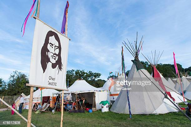 General view of the teepees during Day 1 of the Glastonbury Festival at Worthy Farm Pilton on June 25 2015 in Glastonbury England Now its 45th year...