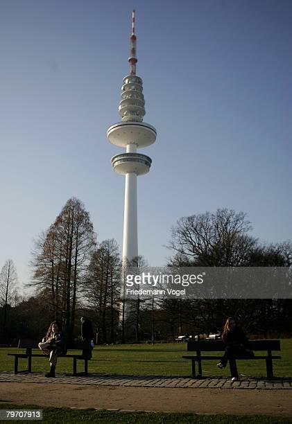 General view of the television tower in Hamburg on February 11 2008 in Hamburg GermanyThe weather is very mild for the winter month February With...