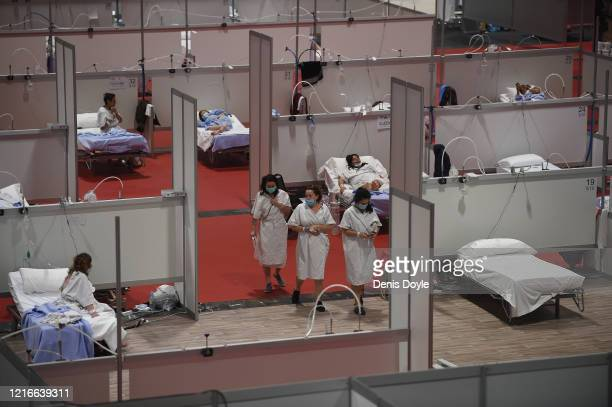 A general view of the Temporary Hospital of the Community of Madrid authorized at IFEMA to treat patients with coronavirus on April 03 2020 in Madrid...