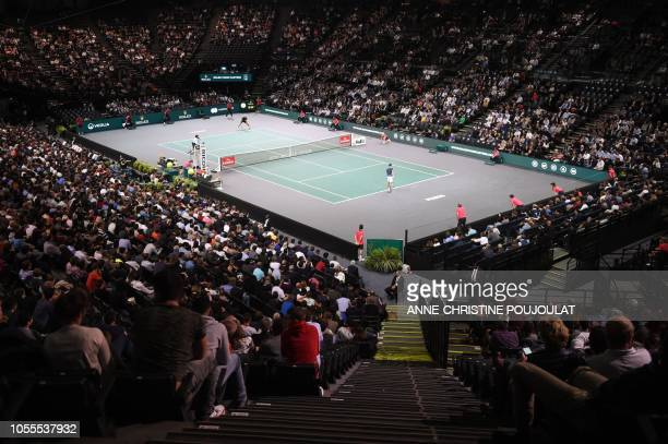 General view of the tennis court during the men's singles second round match between Serbia's Novak Djokovic and Portugal's Joao Sousa, on day two of...