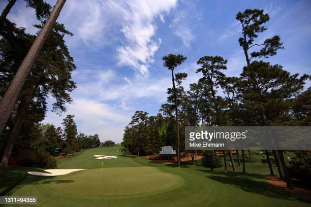 General view of the tenth green during the first round of the Masters at Augusta National Golf Club on April 08, 2021 in Augusta, Georgia.