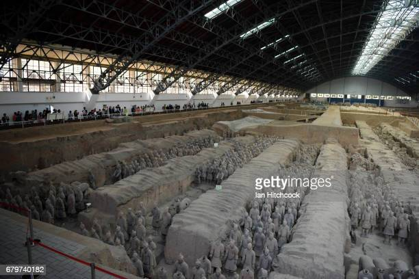 XI'AN CHINA APRIL 12 A general view of the Terracotta Warriors are seen on April 12 2017 in Xi'an China