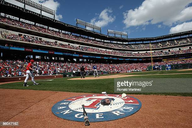 A general view of the Texas Rangers on deck circle during play against the Kansas City Royals on April 19 2009 at Rangers Ballpark in Arlington Texas