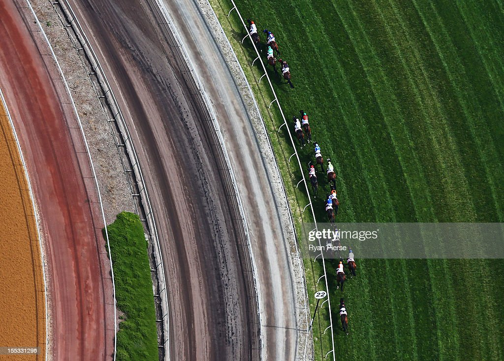 A general view of the the AAMI Victoria Derby during Victorian Derby Day at Flemington Racecourse on November 3, 2012 in Melbourne, Australia.