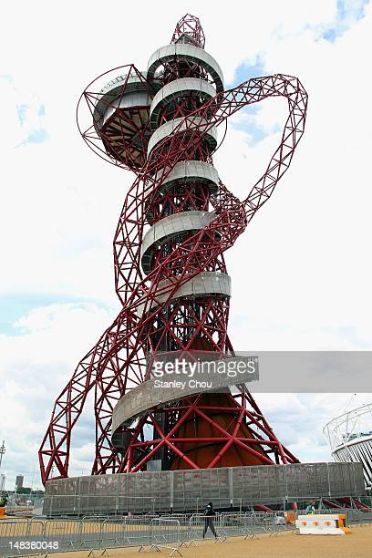 A general view of the the ArcelorMittal Orbit sculpture in the Olympic Park on July 15 2012 in London England