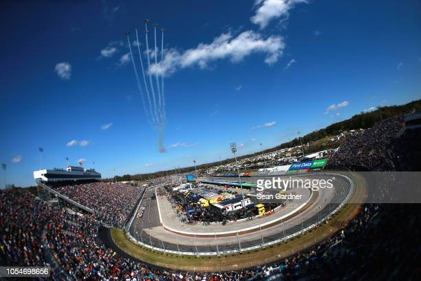 A general view of the the flyover prior to the Monster Energy NASCAR Cup Series First Data 500 at Martinsville Speedway on October 28 2018 in...
