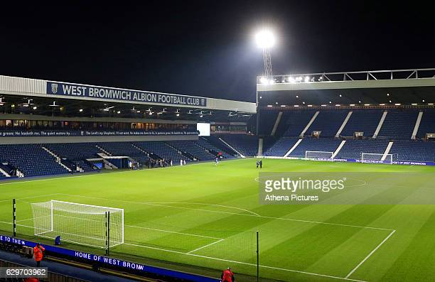 General view of the The Hawthorns at night prior to kick off of the Premier League match between West Bromwich Albion and Swansea City at The...