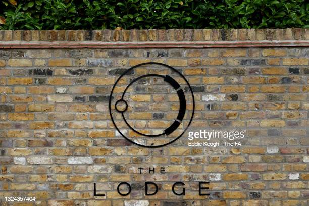 """General view of the """"The Lodge"""" sign prior to the England Training Session at the Tottenham Hotspur Training Centre on June 19, 2021 in Enfield,..."""