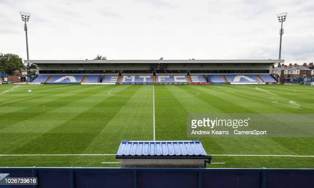 General view of the The Moss Rose stadium during the Checkatrade Trophy Group C match between Macclesfield Town and Blackpool at Moss Rose Ground on...