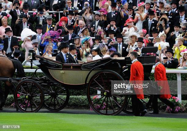 A general view of the the Parade ring as Prince Harry Duke of Sussex Meghan Duchess of Sussex Sophie Countess of Wessex and Prince Edward Earl of...