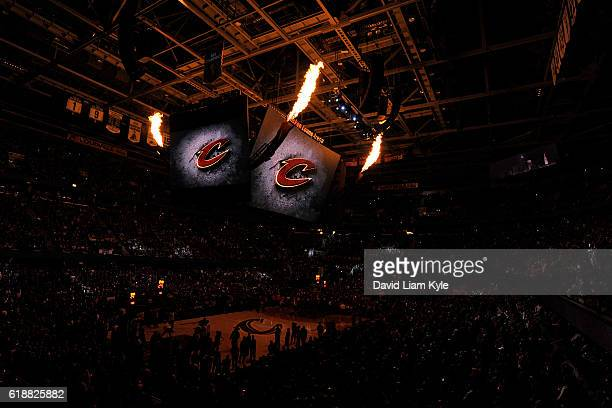 A general view of the The Quicken Loans Arena before the New York Knicks game against the Cleveland Cavaliers on October 25 2016 in Cleveland Ohio...