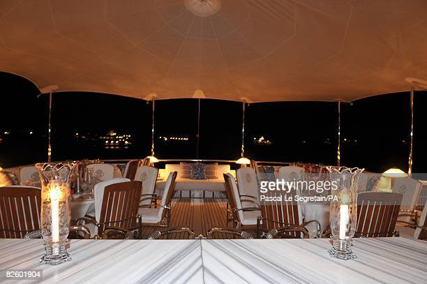 ACCESS*** A general view of the the yacht MY Siran where the wedding of Singer Paul Anka and Anna Anka is celebrated at Cala di Volpe Bay on July 26...