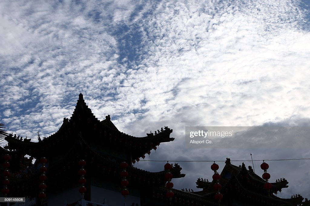 General view of the Thean Hou Temple during sunset on the 1st day of Lunar New Year celebrations in Kuala Lumpur, Malaysia, on Feb. 8, 2016. The Lunar New Year which falls on today marks the Year of the Monkey in the Chinese calendar.
