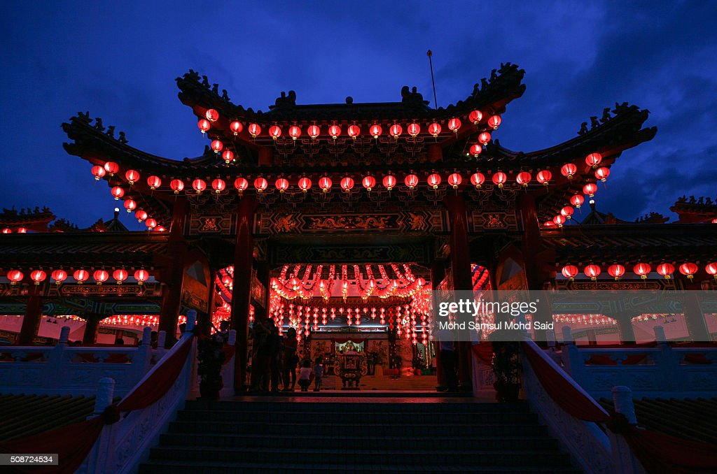 A general view of the Thean Hou temple with lanterns decorated ahead of Lunar New Year of the monkey celebrations on February 6, 2016 in Kuala Lumpur, Malaysia. According to the Chinese Calendar, the Lunar New Year which falls on February 8 this year marks the Year of the Monkey, the Chinese Lunar New Year also known as the Spring Festival is celebrated from the first day of the first month of the lunar year and ends with Lantern Festival on the Fifteenth day.